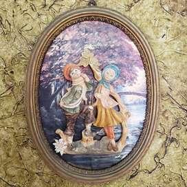 cuadro ovalado italiano en relieve