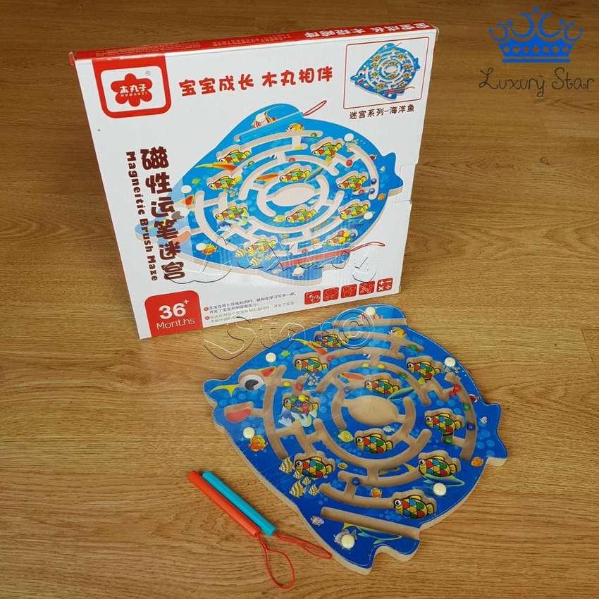 Laberinto Magnetico Puzzle Pez Madera Didactico Peces Iman 0