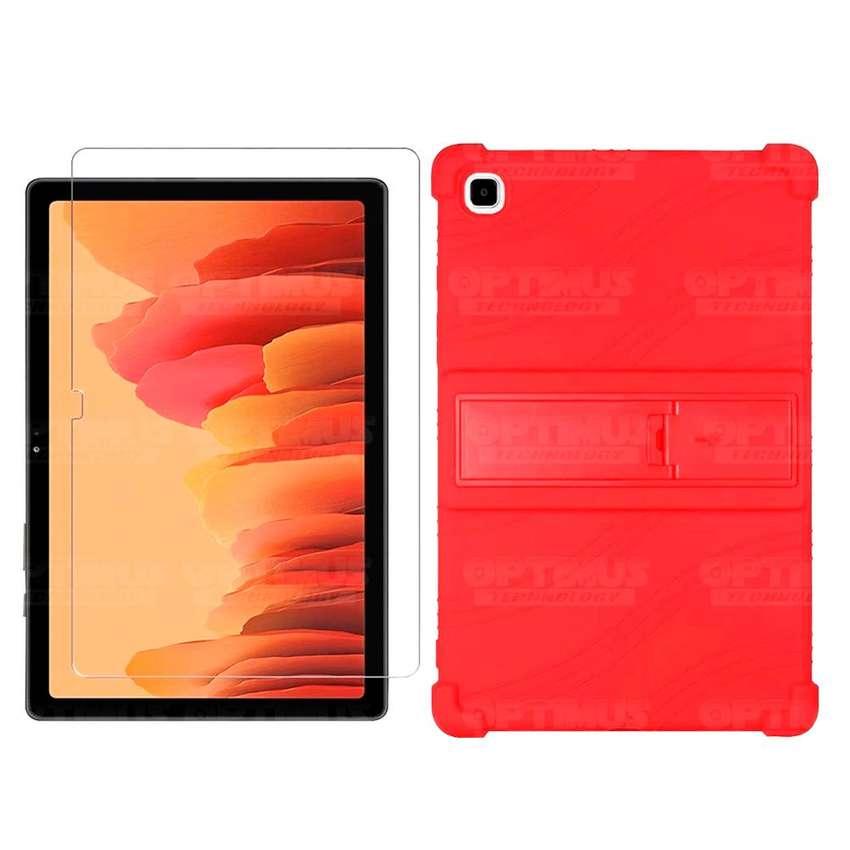 Kit Vidrio templado y Estuche Protector de goma antigolpes con soporte Tablet Samsung Galaxy Tab A7 10.4 2020 T500
