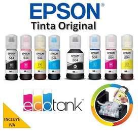 Tinta Original Epson Kit 4 Colores para varios modelos L380, L3110, L395, L3150, L495, L4150, L4160, L575 INCLUYE IVA