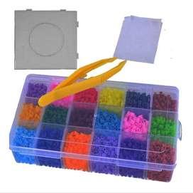 Kit Hama Beads 18 Colores+tabla+ Pinza+ Papel 6000 Perler
