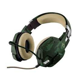 Audífono Diadema Gamer Trust Jungle Camo GXT 322C Camuflado Verde