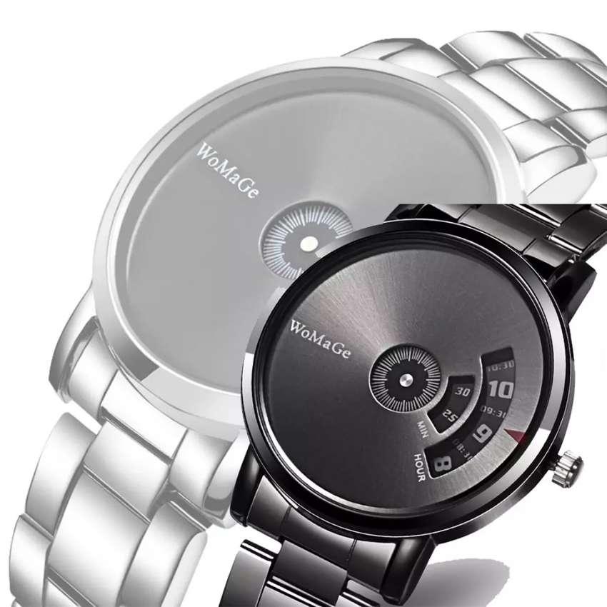 Reloj Hombre Metálico Ilusion Of Time Womage Negro Plateado