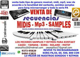 PISTAS MUSICALES  MID, MP3, WAV, MULTITRACK