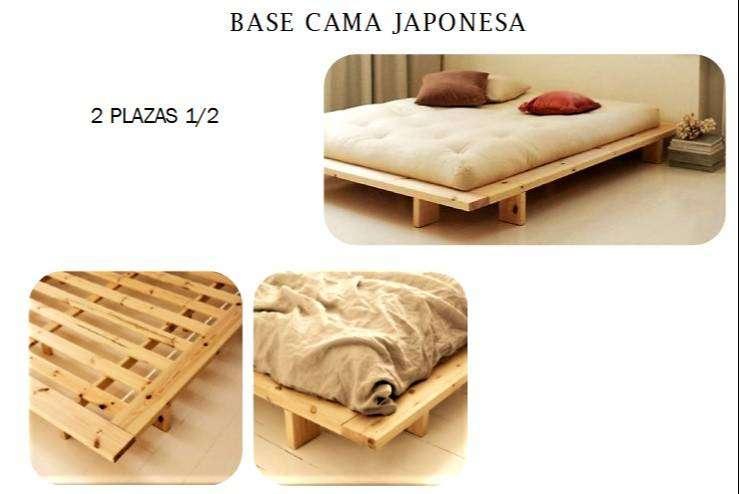 BASE DE  CAMA JAPONESA DE TECA DE 2 1/2 PLAZAS 0