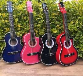 Guitarra niño + forro + 1 clase personalizada virtual + uña + capodastro