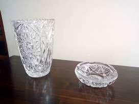 Jarrón y cenicero en cristal Baccarat