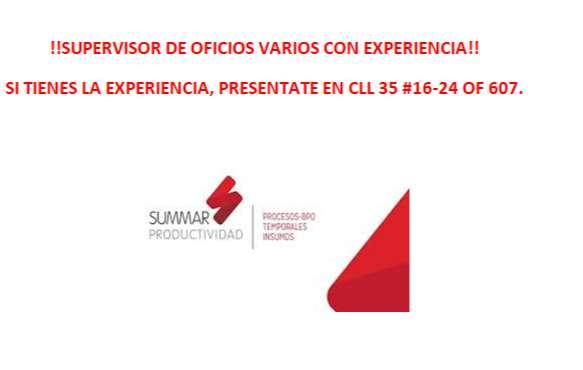 SUPERVISOR DE OFICIOS VARIOS CON EXPERIENCIA!!! 0