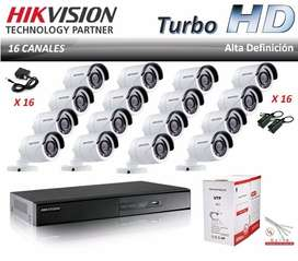 Kit de Seguridad Cámaras + UPS + DVR + Disco 2TB
