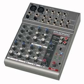 Mixer mexclador phonic con  phantom para grabar interfaz