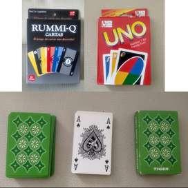 Trio cartas Rummi Q + Uno + baraja de cartas