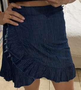 Pollera de jeans cruzada