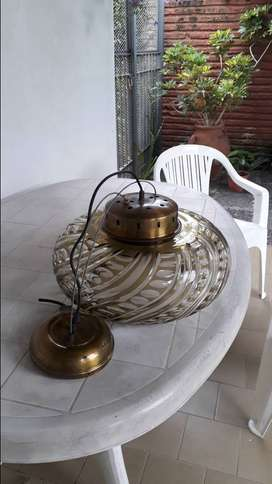 lampara antigua colgante tallada