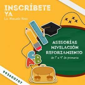 Asesorías de tareas, nivelación y reforzamiento para niños de 1° a 4° de primaria