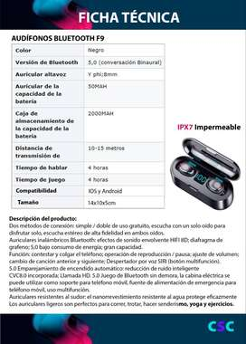 PARA MAMA REGALA. Audífonos inalámbricos táctiles para celulares F9. REMATO