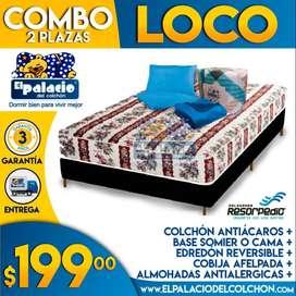 !!* COLCHONES 2 PLAZAS *!! COMBO 2 PLZ + COLCHÓN + CAMA BASE + EDREDON + COBIJA + 2 ALMOHADAS **El Palacio Del Colchon**