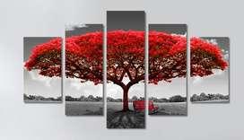 Cuadro Moderno Arbol Rojo