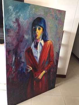 Cuadro colorido retrato mujer
