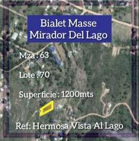 Vendo Lote de 1200mts,Increible Vista al Lago, Amojonado con escritura