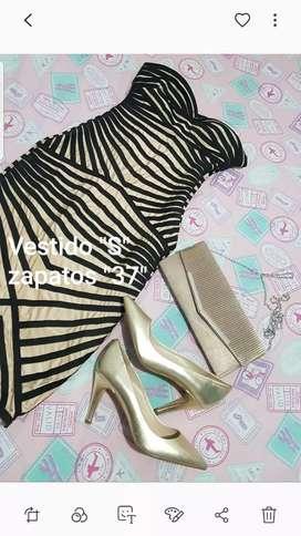 Vestido csrtera y zapatos