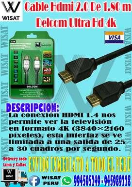 Cable Hdmi 2.0 De 1.80 Metros Delcom Ultra Hd 4k