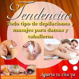 Depilaciones y masajes terapeuticos damas y caballeros