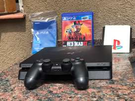 Playstation 4 Slim - 1 Tb (7 Meses, Poco Uso) + Red Dead Redemption 2