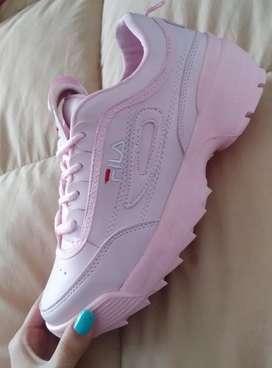 Tenis calzado fila mujer dama rosados rosa talla 37