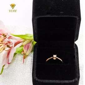 Anillo de compromiso de oro 18k con diamante de 13 pts