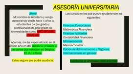 ASESORÍA UNIVERSITARIA VIRTUAL PERSONALIZADA - CLASES PARTICULARES VIRTUALES PERSONALIZADAS CON EXPERIENCIA ONLINE