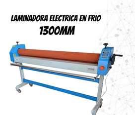 LAMINADORA EN FRIO ELECTRICA DE 1300MM CON DOBLE PORTA ROLLOS Y RODILLO CALORÍFICO
