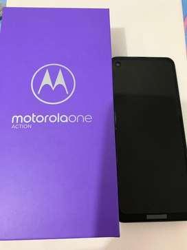 Motorola One Action. Tiene un mes de uso, tiene 1 año de garantia, seguro de Sura, estado 10/10. 128 GB, 3 camaras