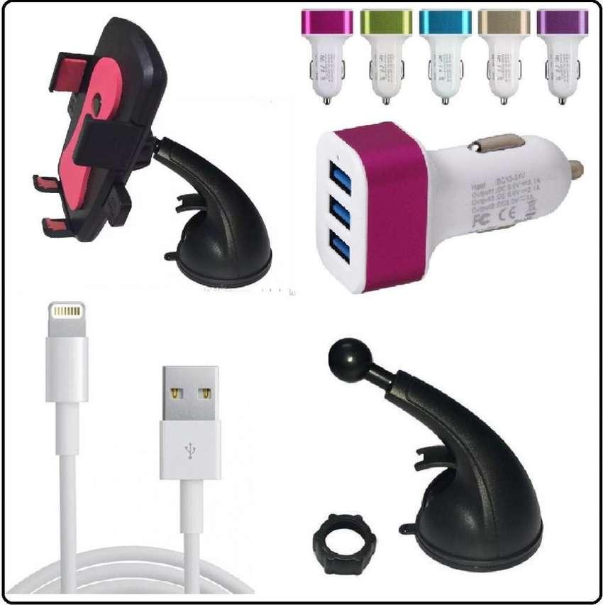 Combo Soporte Cargador Y Cable P Iphone 5 5s 6 6 plus 7 7 plus 8 8 plus X Tribunales 0