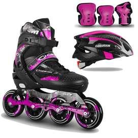 Combo patines canariam roller team + kit de porteccion + casco
