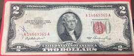 Billete de 2 Dolares Sello Rojo 1953
