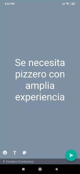 Busco pizzero en la cuidad de Bogotá, especialmente que viva en el noroccidente de la cuidad, que cuente con amplia