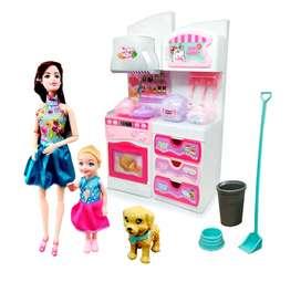 Cocina juguete horno estufa y gabinetes pago contraentrega envió gratis para bogota