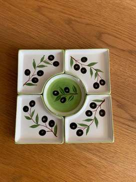 Set bandeja pasabocas en cerámica