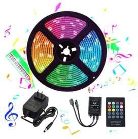 CINTA LED RGB MULTICOLOR AUDIORITMICA 5mts + control + adaptador . AUDIO RITMICA