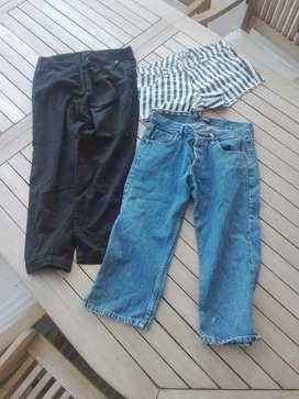Mini short, capri de jean y capri de algodon, las tres cosas en un combo  por $500
