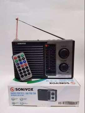 Radio Parlante Inalámbrico Am/ Fm/ Sw Sonivox Vs-r117usbcr