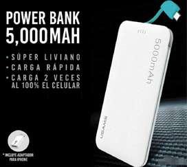 Powerbank Cargador bateria portatil Usams 5000 mAh color blanco nuevo sellado