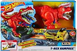 Hot Wheels City T-rex Demoledor Dinosaurio Ruge Sonidos Y Movimientos de Fisher Price