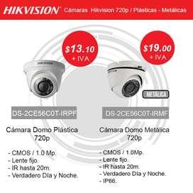 Cámaras de Seguridad Hikvision Plásticas , Metálicas 720p - 1080p Precios de Oferta por temporada,  Garantía 2 Años.