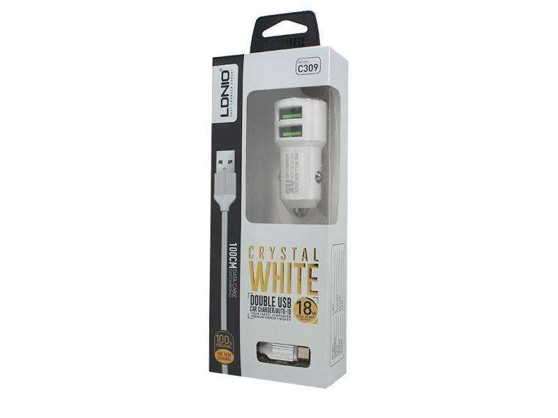 Cargador 2 en 1 P/Carro Blanco para IPHONE C309 LDNIO C309 2 Dual USB Car Charger 5V 3.6A Universal With Cable For iPhon 0