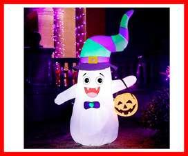Halloween inflable lindo fantasma con calabaza, Halloween soplar patio decoración interior/exterior decoraciones