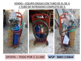 SOLDADORA OXIGAS + TUBO DE NITROGENO COMPLETOS