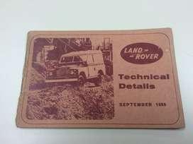 Folleto técnico original Land Rover Series IIA - Septiembre 1969