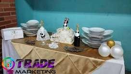 ALQUILER DE MENAJE | alquiler de manteleria | alquiler de samovares | matrimonio | bodas | 15 años | dj