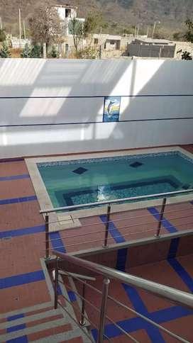Alquiler de cabaña amoblada con piscina